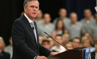 Republican U.S. presidential candidate Jeb Bush speaks about his plans for the U.S. military at The Citadel, The Military College of South Carolina, in Charleston, South Carolina November 18, 2015. Bush called for an increased U.S. troop presence on the ground in Iraq as part of a global coalition to take on Islamic State militants, shifting to a more hawkish stance in response to the Paris attacks.     REUTERS/Joshua Drake - RTS7TT9