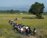 Syrian refugees walk through a field near the village of Idomeni at the Greek-Macedonian border, July 14, 2015. The United Nations refugee agency said that Greece urgently needed help to cope with 1,000 migrants arriving each day and called on the European Union (EU) to step in before the humanitarian situation deteriorates further. More than 77,000 people have arrived by sea to Greece so far this year, more than 60 percent of them Syrians, with others fleeing Afghanistan, Iraq, Eritrea and Somalia, it said. REUTERS/Alexandros Avramidis - RTX1KAH1