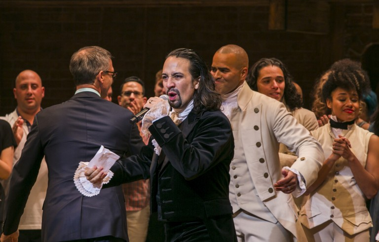 """Lin-Manuel Miranda, actor and creator of the of the play """"Hamilton,"""" addresses the audience after the plays opening night on Broadway in New York August 6, 2015.  REUTERS/Lucas Jackson  - RTX1NE1X"""