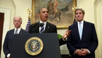 """U.S. President Barack Obama, flanked by Vice President Joe Biden (L) and Secretary of State John Kerry (R), speaks about the Keystone XL oil pipeline from the White House in  Washington November 6, 2015. Obama rejected the Keystone XL oil pipeline from Canada to Nebraska, more than seven years after the controversial project was first proposed. """"The State Department has decided the Keystone XL pipeline would not serve the national interests of the United States. I agree with that decision,"""" Obama said.  REUTERS/Kevin Lamarque       TPX IMAGES OF THE DAY      - RTX1V2M8"""