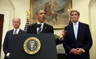 "U.S. President Barack Obama, flanked by Vice President Joe Biden (L) and Secretary of State John Kerry (R), speaks about the Keystone XL oil pipeline from the White House in  Washington November 6, 2015. Obama rejected the Keystone XL oil pipeline from Canada to Nebraska, more than seven years after the controversial project was first proposed. ""The State Department has decided the Keystone XL pipeline would not serve the national interests of the United States. I agree with that decision,"" Obama said.  REUTERS/Kevin Lamarque       TPX IMAGES OF THE DAY      - RTX1V2M8"