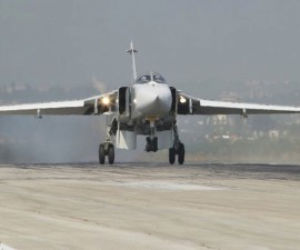 A Sukhoi Su-24 fighter jet lands at the Hmeymim air base near Latakia, Syria, in this handout photograph released by Russia's Defence Ministry November 7, 2015. Turkish fighter jets shot down a Russian-made warplane near the Syrian border on November 24, 2015 after repeatedly warning it over air space violations, Turkish officials said, but Moscow said it could prove the jet had not left Syrian air space. REUTERS/Ministry of Defence of the Russian Federation/Handout via Reuters ATTENTION EDITORS - THIS PICTURE WAS PROVIDED BY A THIRD PARTY. REUTERS IS UNABLE TO INDEPENDENTLY VERIFY THE AUTHENTICITY, CONTENT, LOCATION OR DATE OF THIS IMAGE. THIS PICTURE IS DISTRIBUTED EXACTLY AS RECEIVED BY REUTERS, AS A SERVICE TO CLIENTS. EDITORIAL USE ONLY. NOT FOR SALE FOR MARKETING OR ADVERTISING CAMPAIGNS. NO RESALES. NO ARCHIVE. - RTX1VK9S