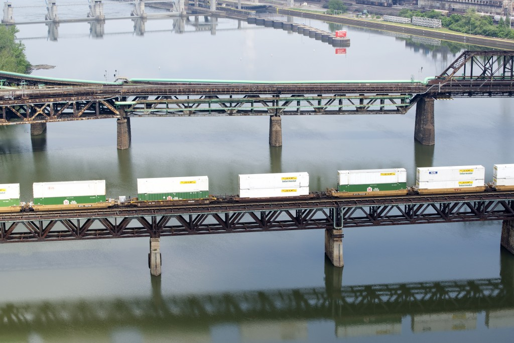 """""""Railroads and Shipping Containers On the Monongahela River 2013."""" Photo by LaToya Ruby Frazier"""