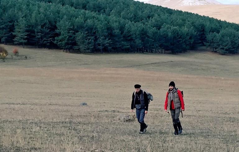 Paul Salopek and his Georgian walking guide Dima Bit-Suleiman. Photo by Morgan Till.