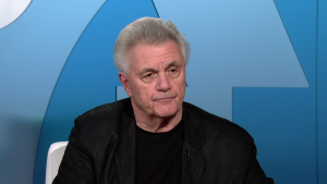 Author John Irving in the PBS NewsHour studio.