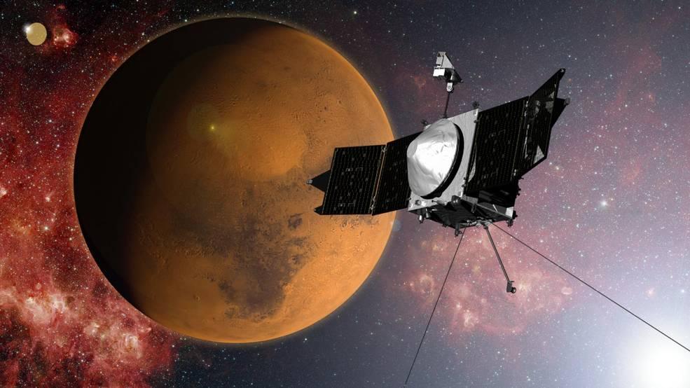 MAVEN and Mars. Illustration by NASA