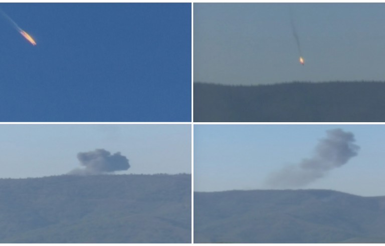 A combination picture taken from video shows a Russian war plane crashing in flames in a mountainous area in northern Syria after it was shot down by Turkish jet fighters near the Turkish-Syrian border on Nov. 24, 2015. Turkish officials said the war plane was issued repeated warnings that it violated Turkish airspace, but Moscow said it could prove the jet had not left Syrian airspace. Image from Reuters TV/Haberturk