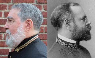 Once a year, John Philip Sousa, the American composer responsible for the country's most recognizable patriotic marches, rises back from the dead to celebrate his birthday. Left photo by Joshua Barajas/PBS NewsHour, right photo courtesy of Library of Congress