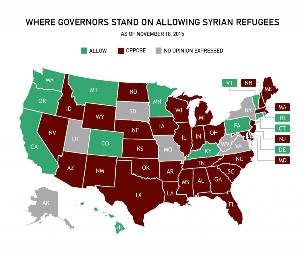 Where governors stand on allowing Syrian refugees