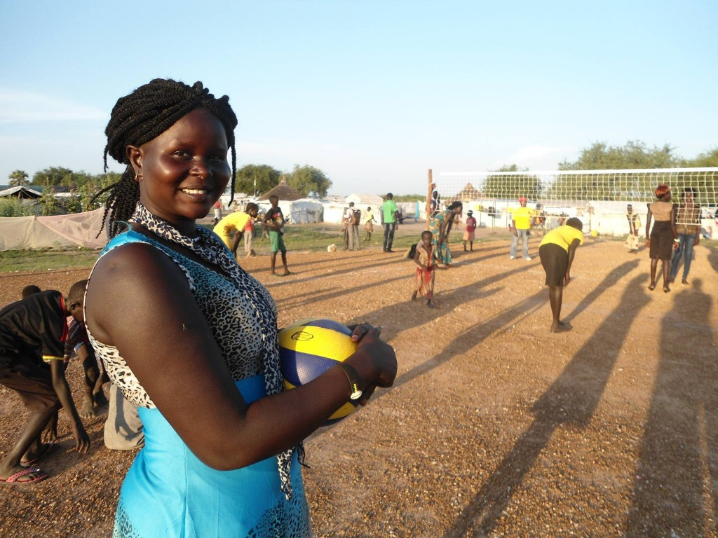 Girls displaced by fighting in South Sudan learned volleyball and other sports in a pilot program. Photo courtesy of Free to Run