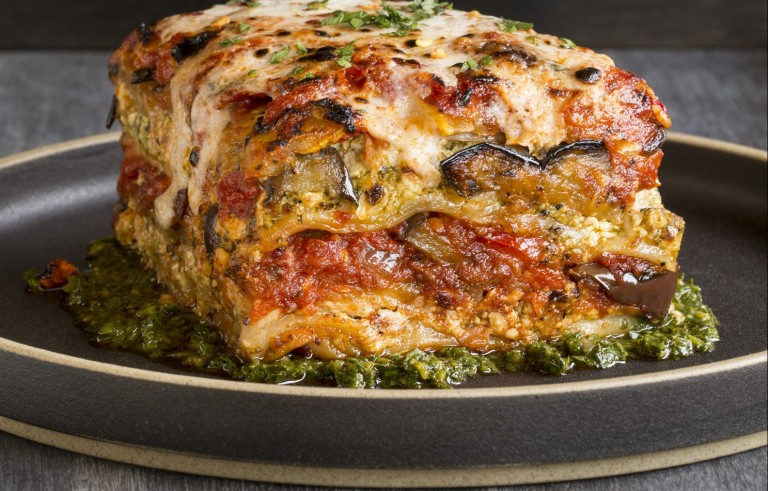 Grilled Garden Vegetable Lasagna with Puttanesca Sauce at Crossroads by Chef Tal Ronnen. Photo courtesy of Artisan