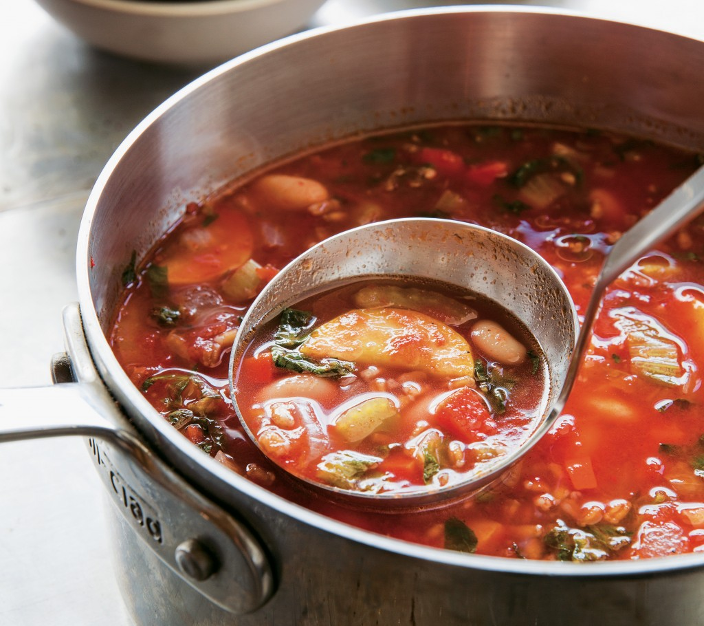 Minestrone soup in stainless steel pot. Photo courtesy of Artisan