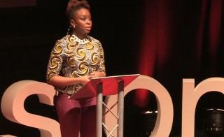 Chimamanda Ngozie Adichie speaks on feminism at a TedX talk.