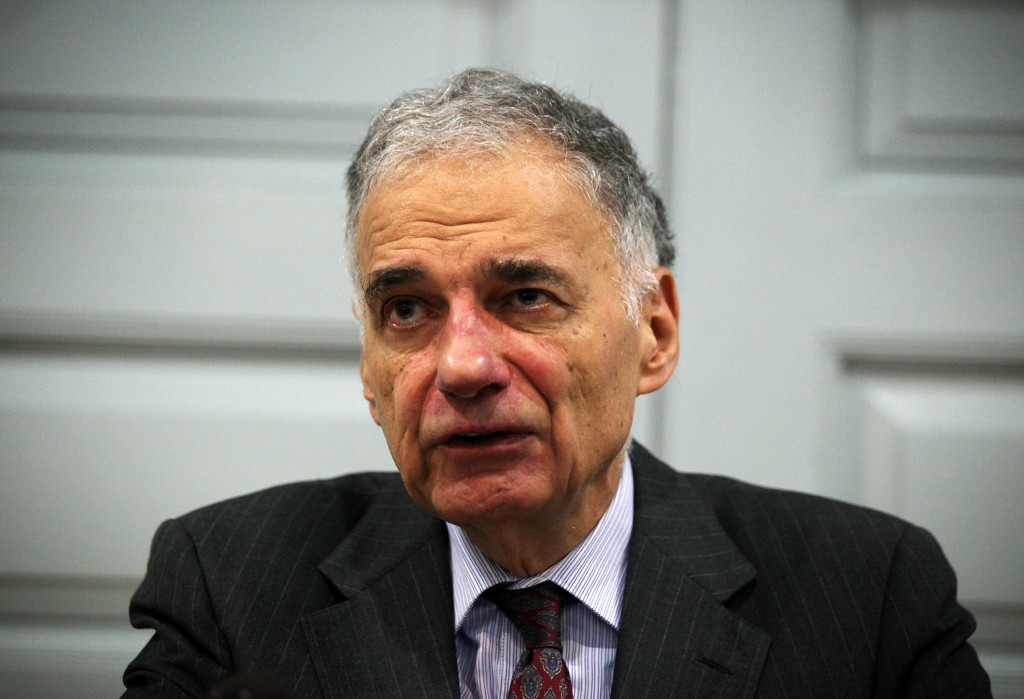 "WASHINGTON, DC - JULY 02:  Former presidential candidate Ralph Nader speaks during a news conference July 2, 2012 at Public Citizen in Washington, DC. Nader held a news conference to announce an ""upcoming limited general strike to protest the colonial status of the District of Columbia and to support D.C. statehood.""  (Photo by Alex Wong/Getty Images)"