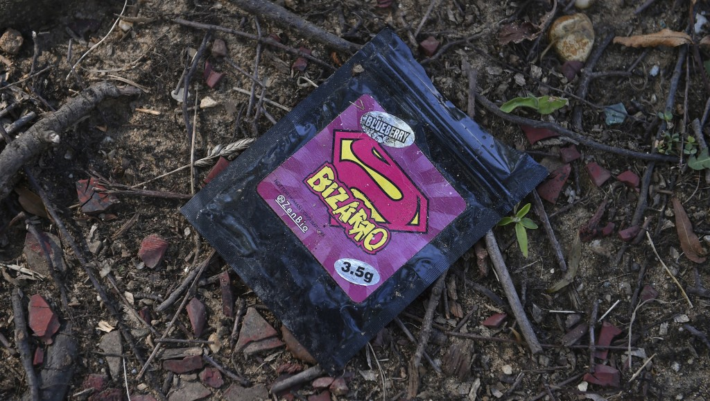 WASHINGTON, DC - JULY 16: A used packet of Bizarro synthetic drugs are seen next to a sidewalk in NE on July 16, 2015 in Washington, D.C. Washington, D.C. is experiencing an uptick in synthetic drug use and overdoses due to the availability and affordability. Metro police and D.C. Fire and EMS are responding to more calls of people who appear to be under the influence of synthetic drugs. (Photo by Ricky Carioti/The Washington Post via Getty Images)