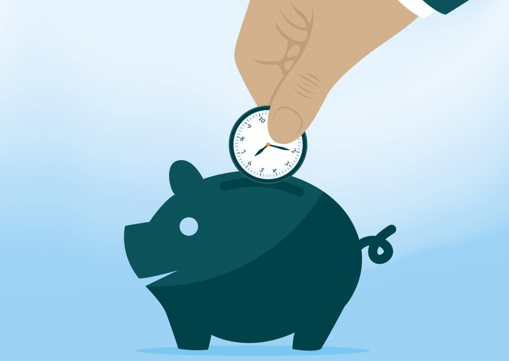 Businessman Dropping Clock Into Piggy Bank