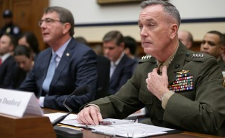 WASHINGTON, DC - DECEMBER 01:  Chairman of the Joint Chiefs of Staff Gen. Joseph Dunford Jr. (R) and Defense Secretary Ashton Carter testify before the House Armed Services Committee in the Rayburn House Office Building on Capitol Hill December 1, 2015 in Washington, DC. Carter and Dunford testified about the U.S. strategy to combat the self-proclaimed Islamic State, or ISIS, in Syria and Iraq and its implications for the greater Middle East.  (Photo by Chip Somodevilla/Getty Images)