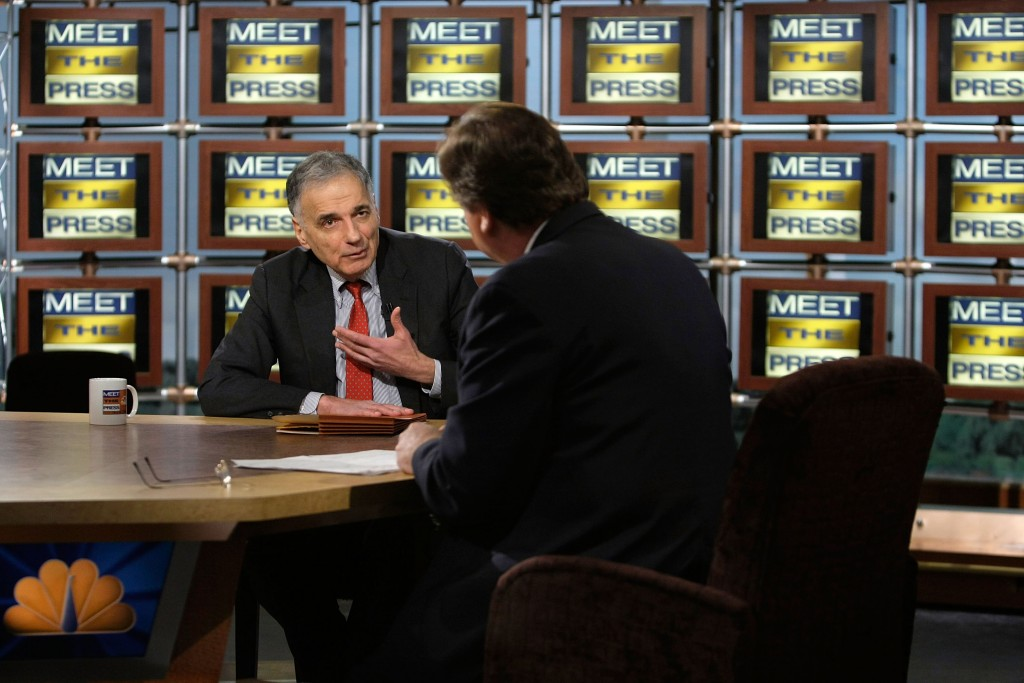 "Nader speaks as he is interviewed by moderator Tim Russert  during a taping of ""Meet the Press"" at the NBC studios February 24, 2008 in Washington, DC. Photo by Alex Wong/Getty Images for Meet the Press."