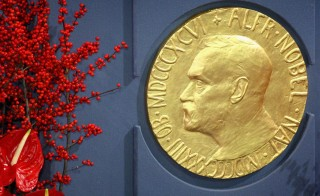 A plaque depicting Alfred Nobel at the Nobel Peace Prize Ceremony in Oslo City Hall on Dec. 10, 2008 in Oslo, Norway. The Peace Prize is presented annually on the anniversary of Nobel's death. Photo by Chris Jackson/Getty Images
