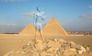 Bodypaint artist Trina Merry painted a model to blend in with the Giza pyramids, pictured above. Bodypaint and photo by Trina Merry