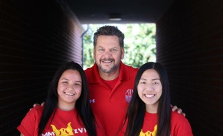 Paul Chylinski with Gabriela Mariscal and Katherine Pham at Loara High School, California.