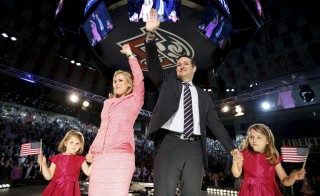 U.S. Senator Ted Cruz (R-TX) stands on stage with his wife Heidi and their daughters Catherine and Caroline, as he announces his candidacy for president during an event at Liberty College in Lynchburg, Virginia, March 23, 2015. Cruz, a conservative firebrand who frequently clashes with leaders of his Republican Party, became the first major figure from either party to jump into the 2016 presidential election race on Monday. Photo by Chris Keane/Reuters