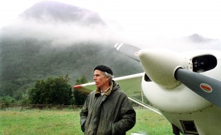 Millionaire American conservationist Douglas Tompkins stands on his land in Chile in this file photo from January 2000 during an interview with the local media in the region of Palena. He bought land in Chile to make a nature sanctuary. Photo by Leo Beca/Reuters