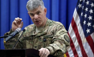 Col. Steve Warren, spokesman for the U.S.-led coalition in Iraq, seen here in October, said that the militants were killed mainly by drone strikes in Iraq and Syria. He offered few details, but said at least two of those killed were linked to the Paris attacks. Photo by Khalid Mohammed/Pool via Reuters