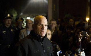 San Francisco Police Chief Greg Suhr speaks to members of the media after officers shot and killed a gunman at a construction site next to St. Luke's Hospital in San Francisco, California November 11, 2015. A gunman was shot and killed on Wednesday after firing several shots from a construction site next to a San Francisco hospital, police said. REUTERS/Stephen Lam - RTS6KJE