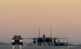 U.S. Air Force F-15E Strike Eagles taxi the runway after landing at Incirlik Air Base, Turkey, November 12, 2015. F-15Es are deployed in support of Operation Inherent Resolve and counter-ISIL missions in Iraq and Syria. Picture taken November 12, 2015. Photo by USAF Tech. Sgt. Taylor Worley/Handout via Reuters