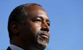Republican presidential candidate Ben Carson pauses as he speaks to the media following a fundraising luncheon in La Jolla, California, on Nov. 17, 2015. Photo by Mike Blake/Reuters