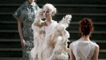 Models present creations by designer Iris van Herpen as part of her Haute Couture Fall Winter 2013/2014 fashion show in Paris July 1, 2013.  REUTERS/Charles Platiau  (FRANCE - Tags: FASHION) - RTX11922