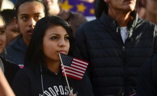"Latino leaders and immigration reform supporters gather at Farrand Field on the campus of the University of Colorado to launch ""My Country, My Vote,"" a 12-month voter registration campaign to mobilize Colorado's Latino, immigrant and allied voters October 28, 2015. The rally was held ahead of a forum held by CNBC before the U.S. Republican presidential candidates debate in Boulder. REUTERS/Evan Semon    - RTX1TQD8"
