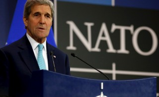 U.S. Secretary of State John Kerry holds a news conference at the NATO ministerial meetings at NATO Headquarters in Brussels on Dec. 2. Photo by Jonathan Ernst/Reuters