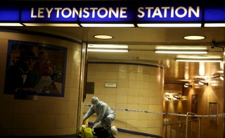 Emergency responders investigate a crime scene at Leytonstone underground station in east London, Britain on Sunday. Police were called to reports of a number of people stabbed at the station in east London and a man threatening other people with a knife. One man was seriously injured and two sustained minor injuries, police said. Photos By Neil Hall/Reuters