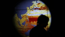 A woman walks past a map showing the elevation of the sea in the last 22 years during the World Climate Change Conference 2015 (COP21) at Le Bourget, near Paris, France, December 11, 2015.  REUTERS/Stephane Mahe  TPX IMAGES OF THE DAY  - RTX1Y96P
