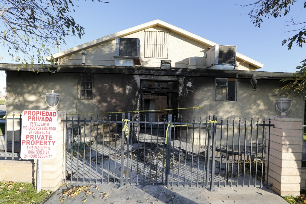 A view of damage at the burned Islamic Society of Coachella Valley on Saturday. A fire that broke out at the Southern California mosque on Friday appears to have been intentionally set and is being investigated as a hate crime, the Riverside County Sheriff's Department said. Photo by Sam Mircovich/Reuters