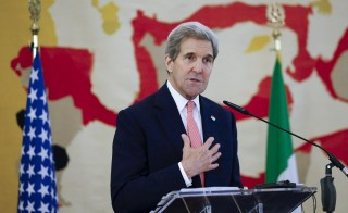 U.S. Secretary of State John Kerry speaks during a meeting in Rome, Italy, December 13, 2015. Western powers on Sunday met envoys from Libya's political factions to nudge them towards agreeing on a unity government, hoping this would stop the spread of Islamic State militancy in the chaotic North African country. REUTERS/Remo Casilli - RTX1YHQQ