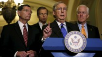 (L-R) Republican Senate leaders Tom Barrasso (R-WY), John Thune (R-SD), Senate Majority Leader Mitch McConnell (R-KY) and John Cornyn (R-TX) hold a news conference on budget negotiations on Capitol Hill in Washington December 15, 2015.     REUTERS/Gary Cameron          TPX IMAGES OF THE DAY      - RTX1YUAP
