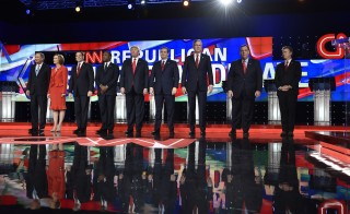 Republican U.S. presidential candidates (L-R) Governor John Kasich, former HP CEO Carly Fiorina, Senator Marco Rubio, Dr. Ben Carson, businessman Donald Trump, Senator Ted Cruz, former Governor Jeb Bush, Governor Chris Christie and Senator Rand Paul pose before the start of the Republican presidential debate in Las Vegas, Nevada December 15, 2015. Photo by David Becker/Reuters