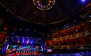 General view of the venue as CNN's Wolf Blitzer (L) moderates Republican U.S. presidential candidates (L-R) Governor John Kasich, former HP CEO Carly Fiorina, Senator Marco Rubio, Dr. Ben Carson, businessman Donald Trump, Senator Ted Cruz, former Governor Jeb Bush, Governor Chris Christie and Senator Rand Paul during the Republican presidential debate in Las Vegas, Nevada December 15, 2015.    REUTERS/Mike Blake - RTX1YVDK