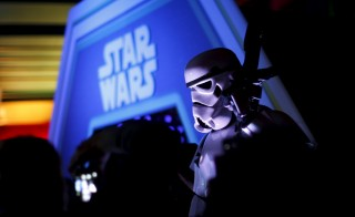 "A character in costume takes part of an event held for the release of the film ""Star Wars: The Force Awakens"" in Disneyland Paris in Marne-la-Vallee, France, December 16, 2015. REUTERS/Benoit Tessier - RTX1Z19W"