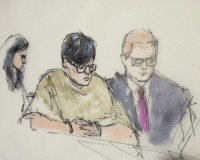 Enrique Marquez (C), 24, is shown in this courtroom sketch as he appears with legal representatives during a hearing in federal court in Riverside, California, December 17, 2015.  Marquez , a former neighbor accused of supplying assault rifles to the couple who massacred 14 people in San Bernardino, California, is charged with conspiring to provide material support to terrorists.  REUTERS/Bill Robles - RTX1Z6VZ