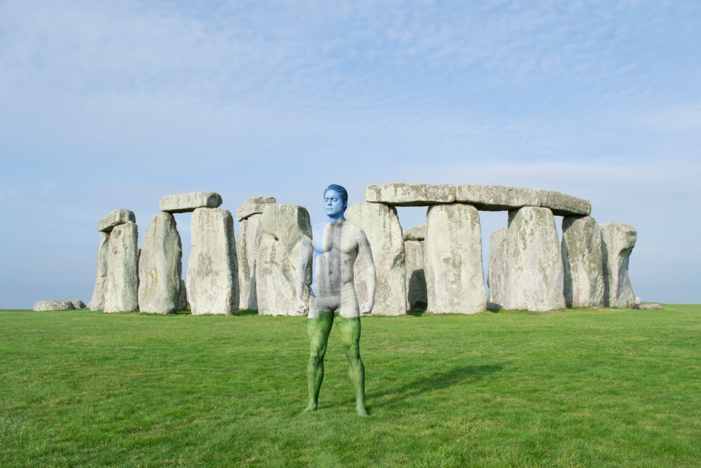Merry painted this model to blend with Stonehenge in England. Bodypaint and photo by Trina Merry