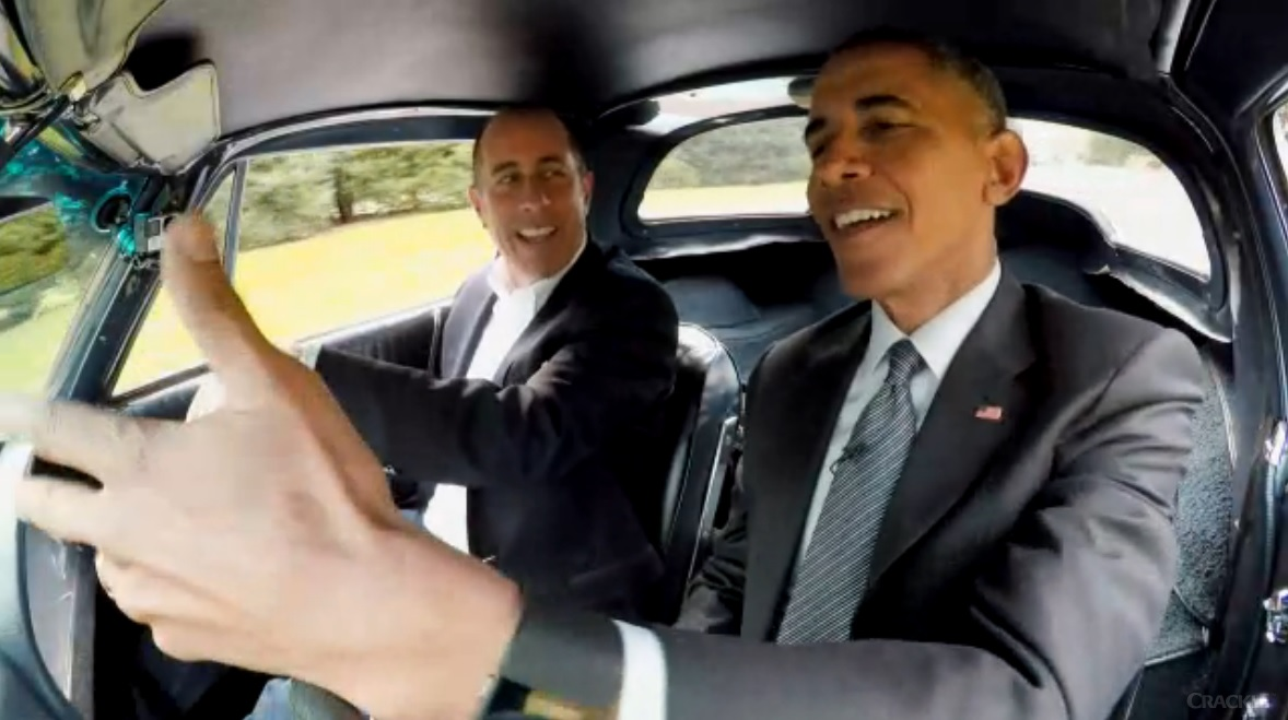 "President Barack Obama appeared in the first episode of the seventh season of Jerry Seinfeld's web series ""Comedians in Cars Getting Coffee."" Image courtesy of Comedians in Cars Getting Coffee"