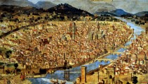 """ITALY - JANUARY 20:  Ancient painting of Florence. The burial place of Leonardo Da Vinci's Mona Lisa located in the Florence's former Convent of Saint Orsola now abandoned and derelict. An Italian art historian Giuseppe Pallanti found a death notice in the archives of a church in Florence that referred to """"the wife of Francesco del Giocondo, deceased July 15, 1542, and buried at Sant'Orsola, where she spent her final days, at age 63."""" Lisa Gherardini, as Leonardo's model was called in real life, was the wife of Florentine tradesman Francesco del Giocondo. Sant'Orsola, now disused and in ruins, is near the San Lorenzo basilica at the heart of the Tuscan metropolis. Another researcher urged a search at the site for Lisa Gherardini's remains. """"Thanks to modern techniques, scientists can determine her physical aspect, maybe even her face and thereby make an important contribution"""" to establishing her identity.  (Photo by Eric VANDEVILLE/Gamma-Rapho via Getty Images)"""