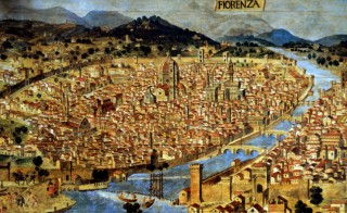 "ITALY - JANUARY 20:  Ancient painting of Florence. The burial place of Leonardo Da Vinci's Mona Lisa located in the Florence's former Convent of Saint Orsola now abandoned and derelict. An Italian art historian Giuseppe Pallanti found a death notice in the archives of a church in Florence that referred to ""the wife of Francesco del Giocondo, deceased July 15, 1542, and buried at Sant'Orsola, where she spent her final days, at age 63."" Lisa Gherardini, as Leonardo's model was called in real life, was the wife of Florentine tradesman Francesco del Giocondo. Sant'Orsola, now disused and in ruins, is near the San Lorenzo basilica at the heart of the Tuscan metropolis. Another researcher urged a search at the site for Lisa Gherardini's remains. ""Thanks to modern techniques, scientists can determine her physical aspect, maybe even her face and thereby make an important contribution"" to establishing her identity.  (Photo by Eric VANDEVILLE/Gamma-Rapho via Getty Images)"
