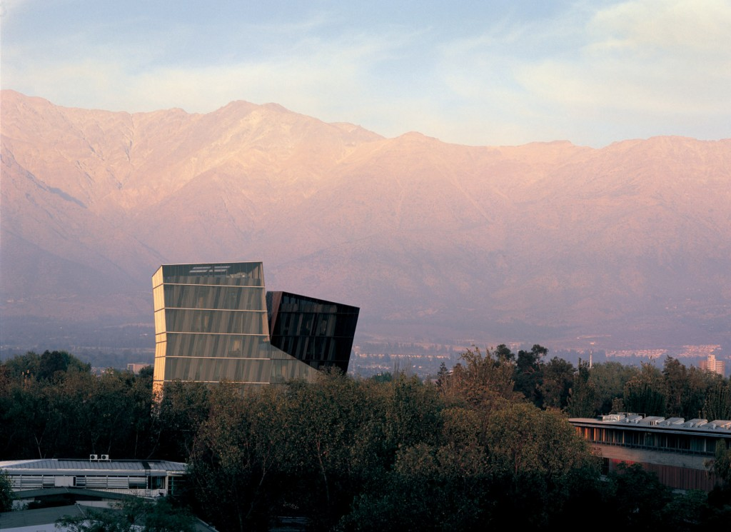 Aravena designed this pair of towers, constructed in 2005, for the Universidad Católica de Chile. Photo by Cristobal Palma