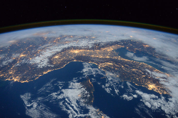 "Space Station Flyover of the Mediterranean. Expedition 46 flight engineer Tim Peake of the European Space Agency (ESA) shared this stunning nighttime photograph with his social media followers on Jan. 25, 2016, writing, ""Beautiful night pass over Italy, Alps and Mediterranean."" Photo by European Space Agency/NASA."