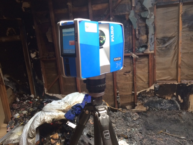 FARO laser scanner at the scene of a fire in San Francisco. Photo by FARO technologies.